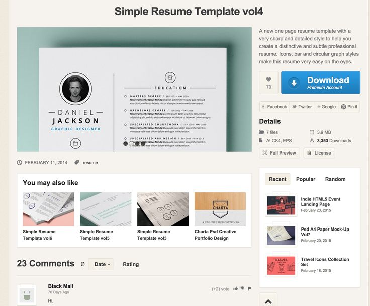 Simple Resume Template vol4 Resumes Templates Pixeden UI - resumes templates