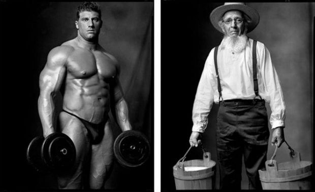 Bodybuilder / Amish Farmer
