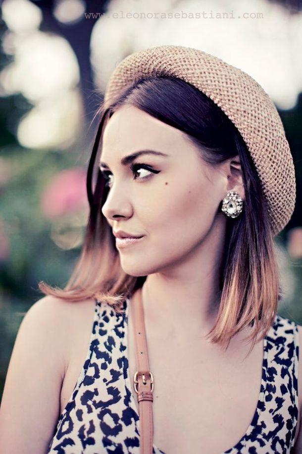 ombre hair/ hat/ statement earrings/ <3