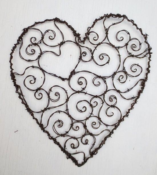 Burly Spirillian Barbed Wire Heart of Spirals For Your Valentine Garden Trellis  **********************************************