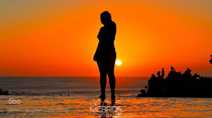 Silhouette by http://jaymcbride.photos  #travelpics #Summer #bali #black #dusk #girl #holiday #indonesia #landscape #ocean #orange #pool   #silhouette #sun #sunset
