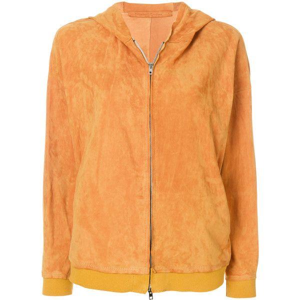 Salvatore Santoro suede hoodie (£975) ❤ liked on Polyvore featuring tops, hoodies, long sleeve tops, beige long sleeve top, suede hoodie, long sleeve hoodies and zip front hooded sweatshirt
