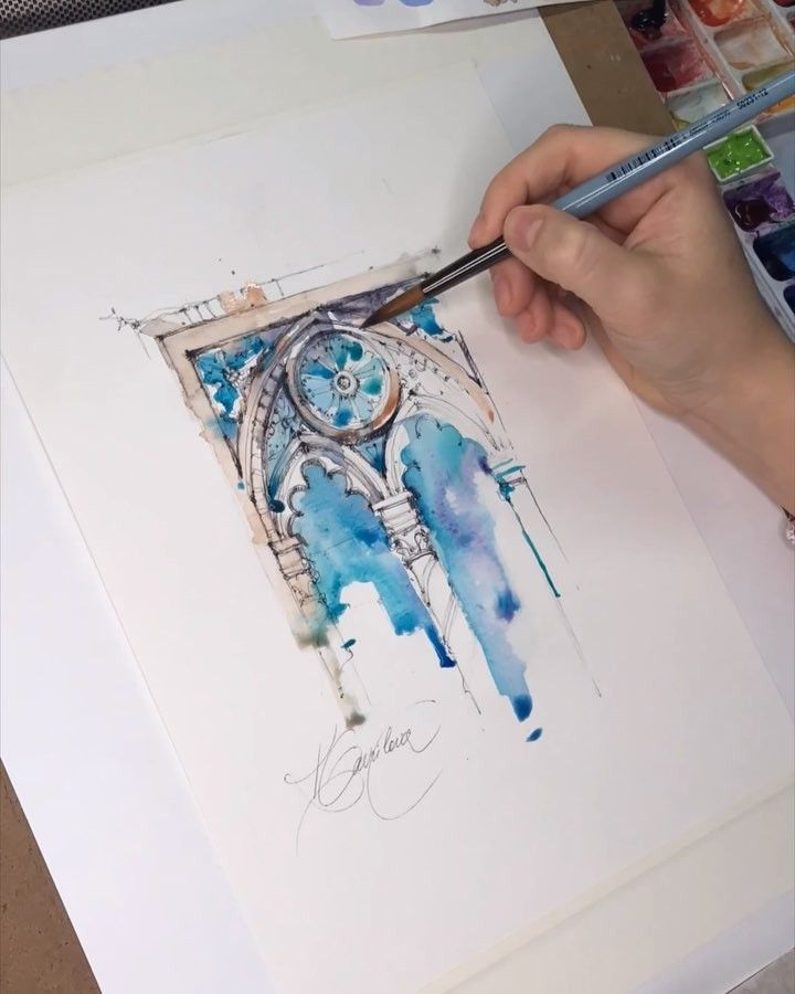 Stained Glass Window In Watercolour Watercolor Architecture