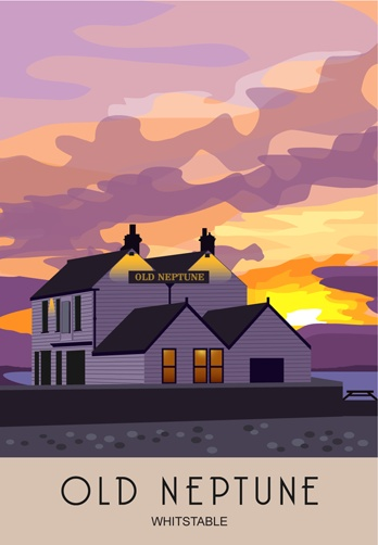 Old Neptune at Sunset, Whitstable. Drawn by Nigel & Neil.Railway Poster style Illustration by www.whiteonesugar.co.uk Drawn by White One Sugar