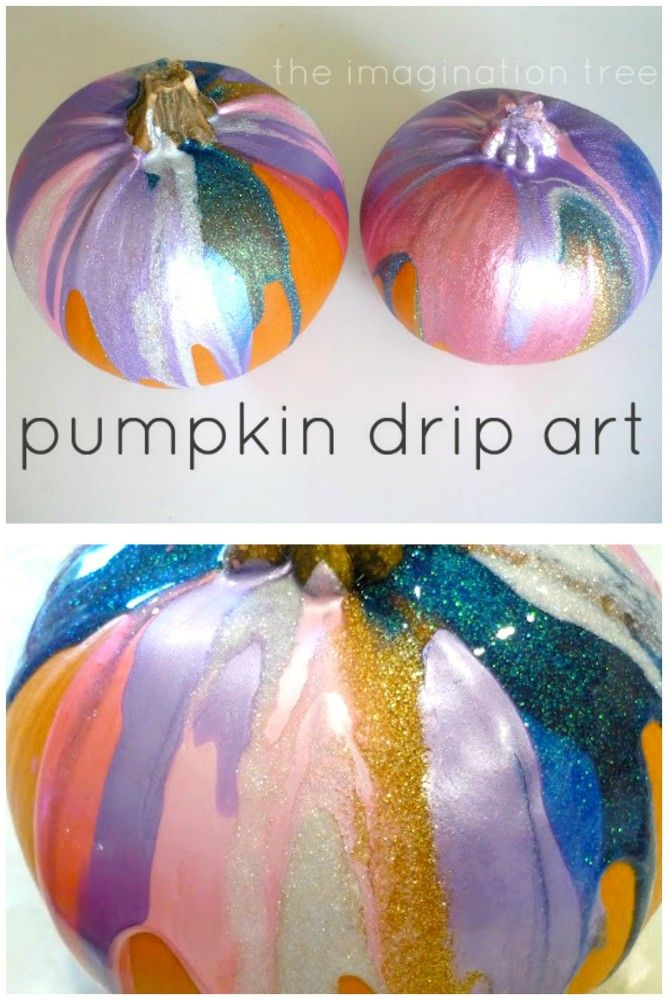 Make pumpkin drip art with kids as a great Autumn or Fall art activity and decoration!