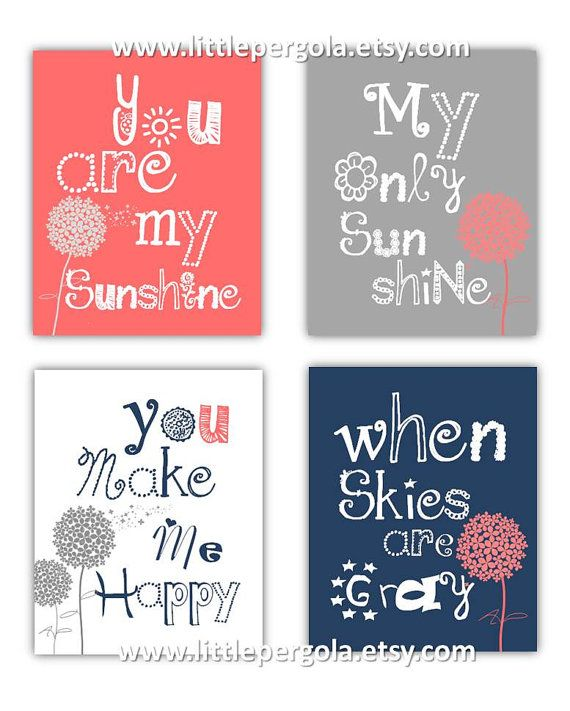 Dandelion Art You are my sunshine Coral Navy and Gray Art