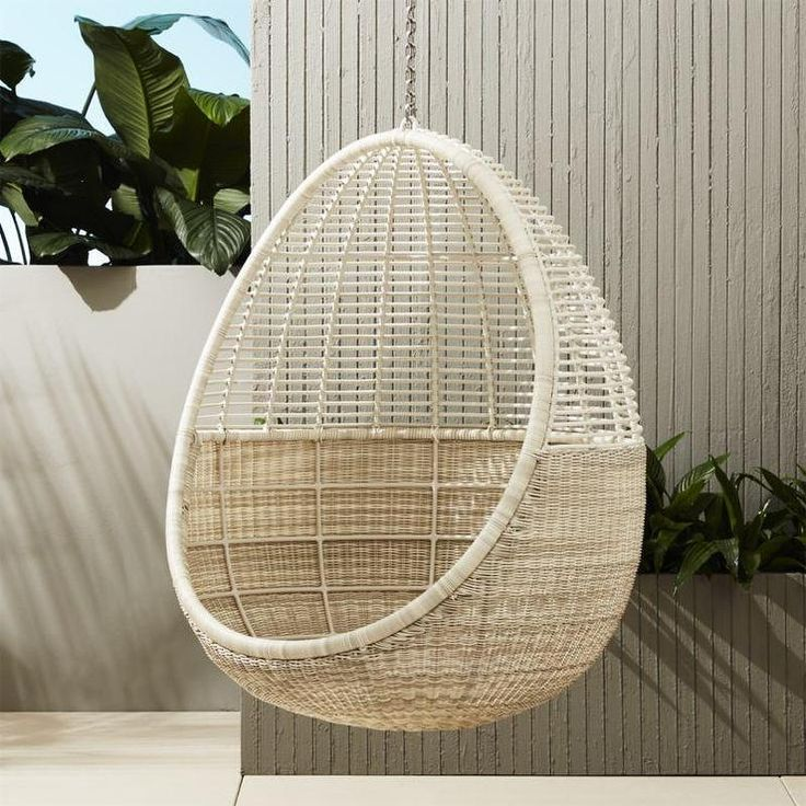 White Wicker Pod Hanging Chair Cadeira Suspensa