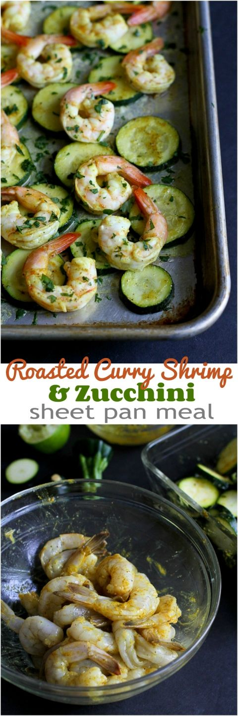 Roasted Curry Shrimp & Zucchini...An easy sheet pan meal!  172 calories and 4 Weight Watchers PP | cookincanuck.com #recipe #healthy