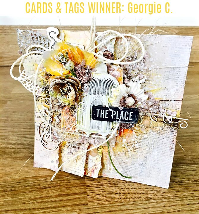 We absolutely love the neutral colors and subtle pops of color on this card, created by Georgie C.! It's multi-layered design is breathtaking, well-balanced, so gorgeous! We love how the flowers take center stage, but are still cohesive with the overall design. Congrats, Georgie C.!