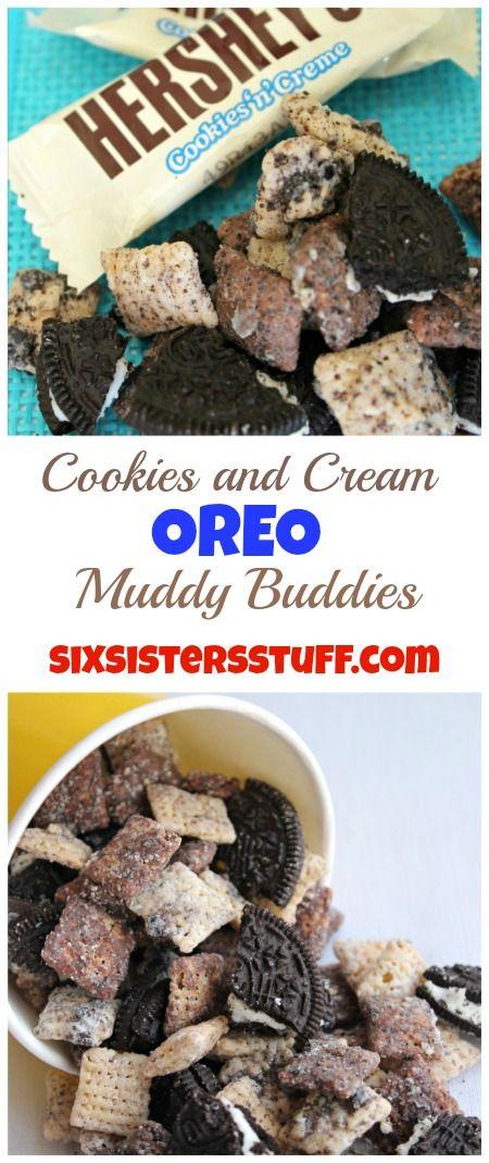 Cookies and Cream Oreo Muddy Buddies on Sixsistersstuff.com
