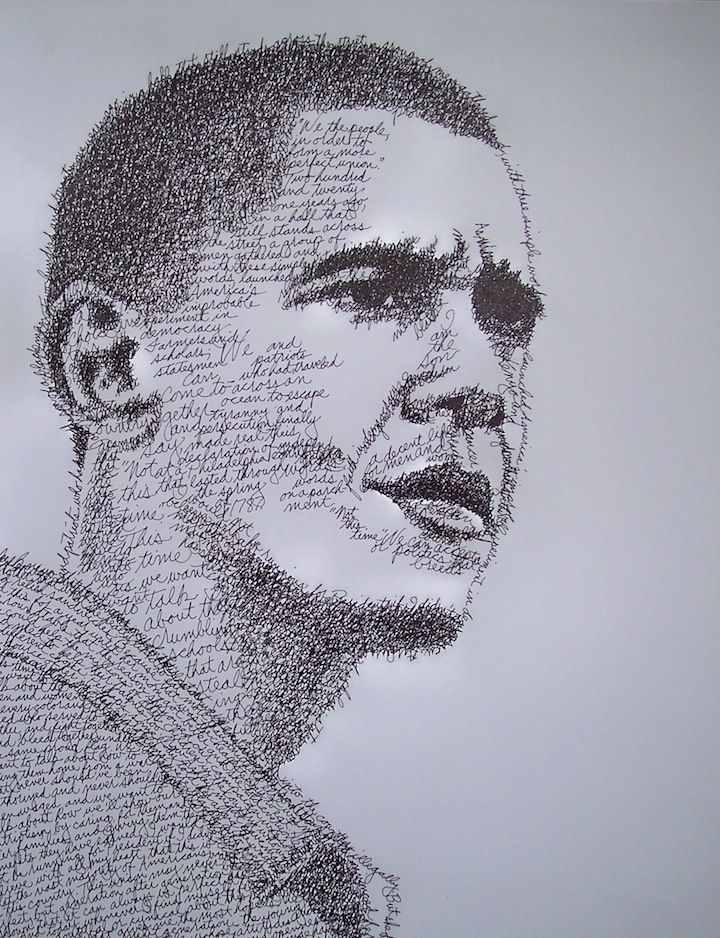 Micrography (Word Portraits) - portraits made using the words they've spoken or written