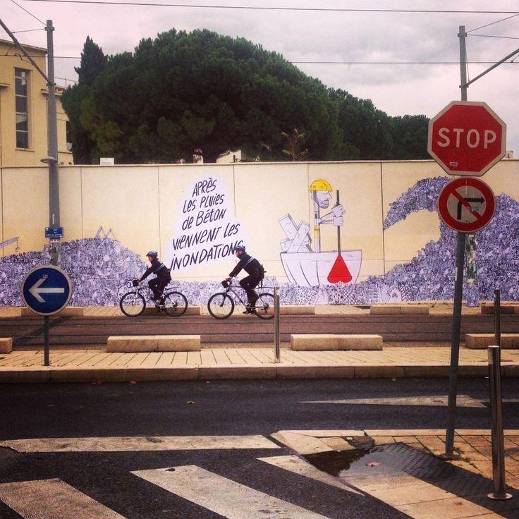 Street Art Sunra X Oups X Slobodan Diantalvic / Après les pluies de béton, 2014 / Montpellier, France