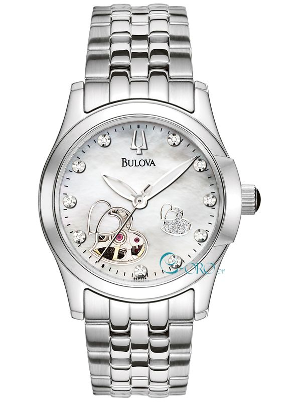 BULOVA Automatic Diamonds Stainless Steel Bracelet 96P114 - E-oro.gr BULOVA ΓΥΝΑΙΚΕΙΑ ΡΟΛΟΓΙΑ