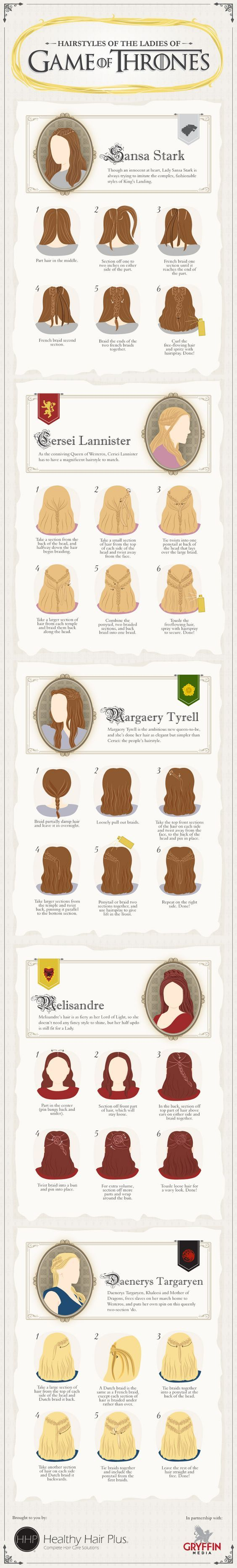 Die Frisuren der Frauen in Game of Thrones sind einfach stark! Und gar nicht so schwer - zumindest diese Versionen von Daenarys Targaryen, Sansa Stark, Margaery Tyrell, Melisandre und Cersei Lannister. | Stylefeed