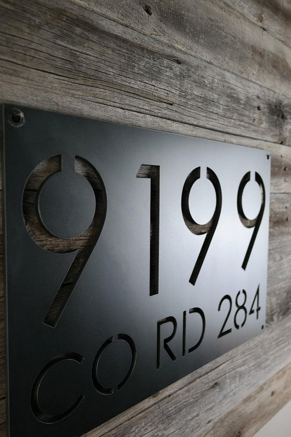 Large Metal Address Plaque With Street Name House Number Etsy