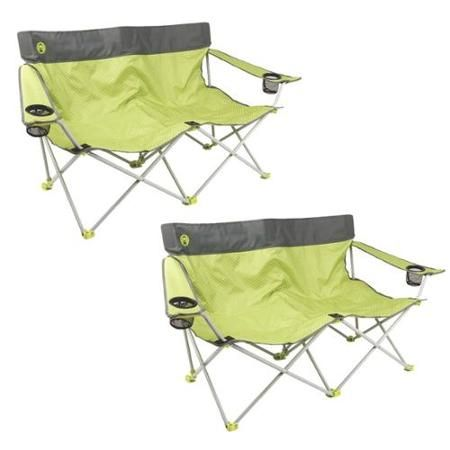 (2) Coleman 2 Person Camping Quattro Lax Double Quad Chairs w/ Pockets | Green