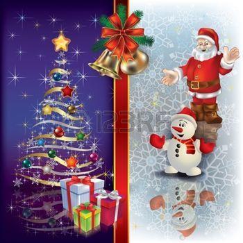 fond clair avec des décorations des rubans: Arrière-plan de Noël abstraite avec arbre de Santa et de cloches