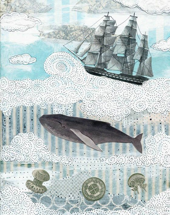 art for Declan's room: Whale Painting , Collage Mixed Media Painting Reproduction , Whimsical  Painting , 8x10. Print 5110