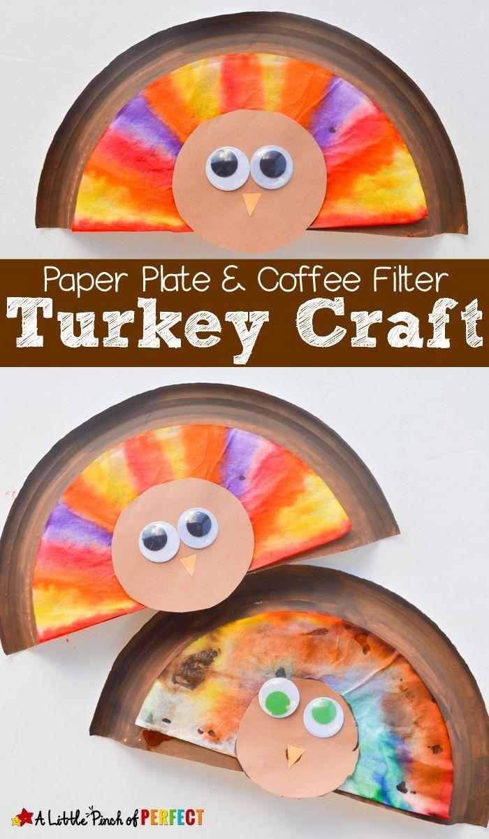 Paper Plate & Coffee Filter Thanksgiving Turkey Craft for Kids (November, Toddler, Preschool, Kindergarten)