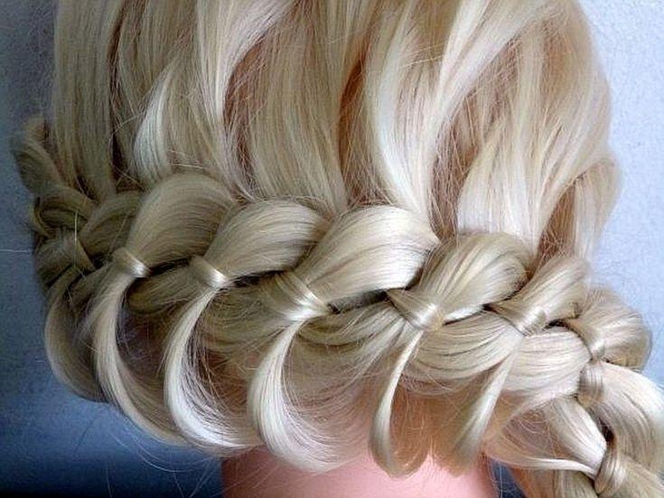 Плетение косички из 4 прядей.Причёска с косичкой вокруг головы.Причёски ...