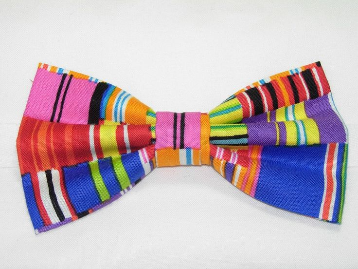 BROKEN LINES PRE-TIED BOW TIE - RED, BLUE, GREEN, ORANGE, YELLOW, PINK & PURPLE