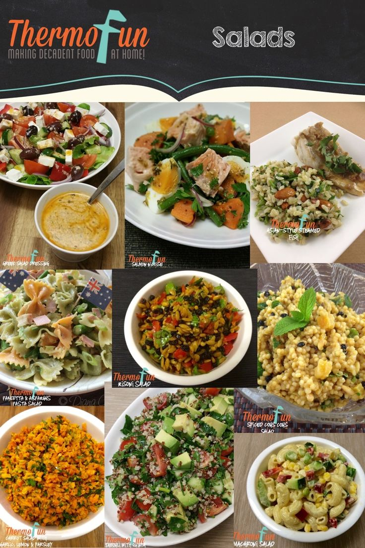 It's summer time 'down under' and I often get asked for salad recipes. So to make it easy for you I have listed the salad recipes that I have on Thermofun.com below. Brown Rice and Almond Tabouli: http://thermofun.com/thermofun-asian-style-steamed-fish-recipe/ Carrot Salad with Garlic, Lemon and Parsley: Week 8, 2015 http://thermofun.com/join/ Greek Salad http://thermofun.com/greek-salad-dressing-recipe/ Macaroni Salad: …