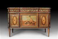 """IMPORTANT COMMODE """"L'ALLEGORIE DE LA MUSIQUE"""",Louis XVI, signed N. LANNUIER (Nicolas Louis Cyril Lannuier, maître 1783) and labelled """"marchand mercier"""", Paris ca. 1785. #Koller #Auktionen #Auctions"""