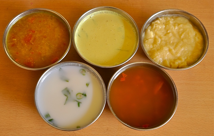 MAIN COURSE   Along with rice, Dhal, Sambar, Rasam, Morekuzhambu and Buttermilk is served in the main course.