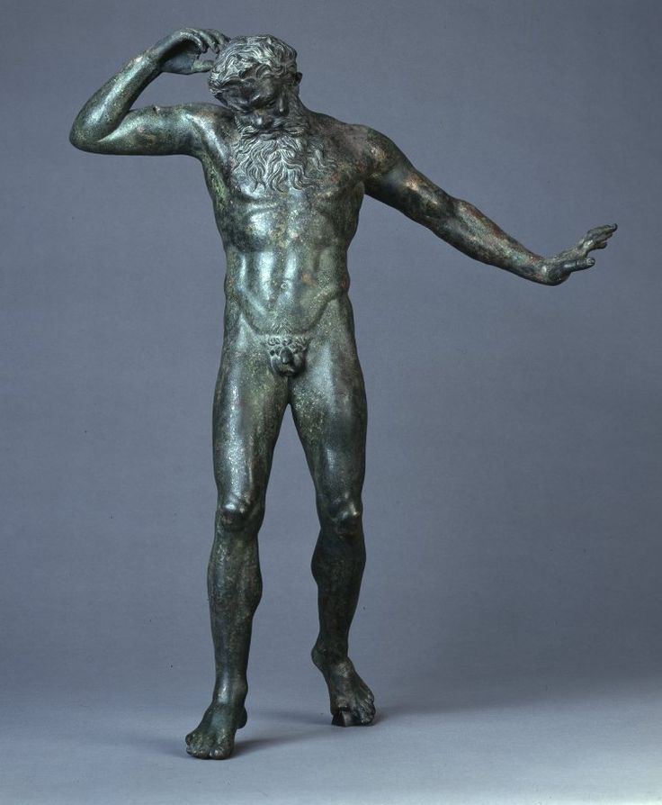 Bronze statue of the satyr Marsyas, portrayed making the fateful decision to pick up and play the pipes discarded by the goddess Athena. Roman 50 BC- 50 AD. Source: British Museum