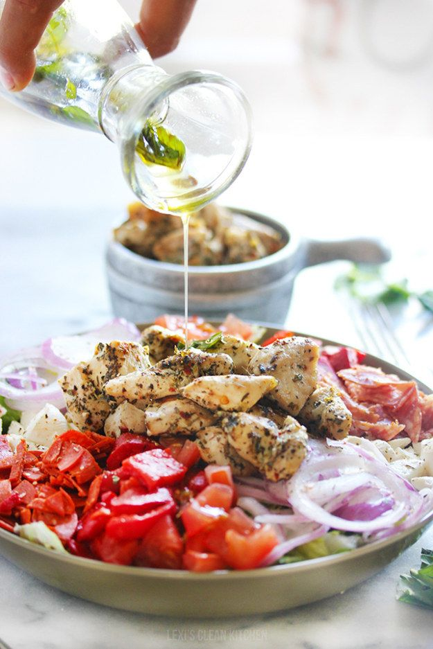 Lunch choice: Grilled Chicken Chopped Antipasto Salad   24 Giant Salads That Will Make You Feel Amazing