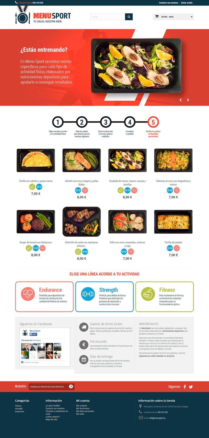 Menusport ~  Marca dedicada a la preparación y distribución de platos elaborados por nutricionistas deportivos para deportistas. Esta es la tienda online que hemos desarrollado para ellos.