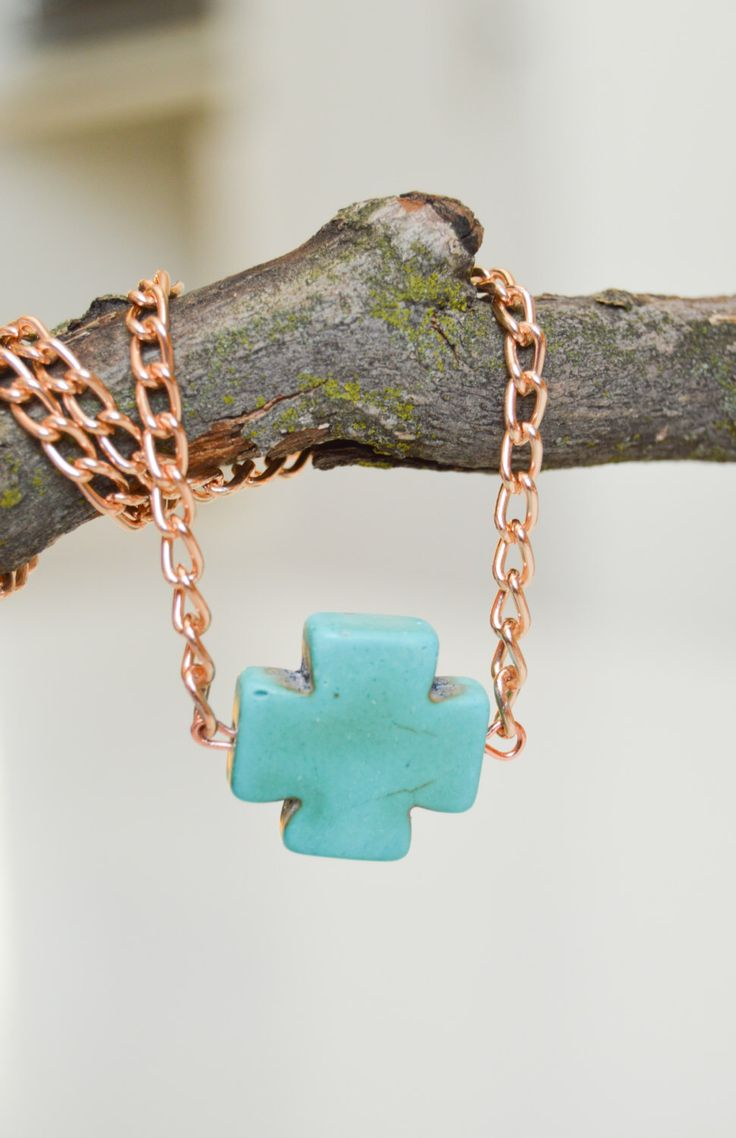 Turquoise Cross Shaped Crystal Pendant with Rose Gold Tone Necklace by MariUniqueCrystals on Etsy https://www.etsy.com/listing/224704520/turquoise-cross-shaped-crystal-pendant