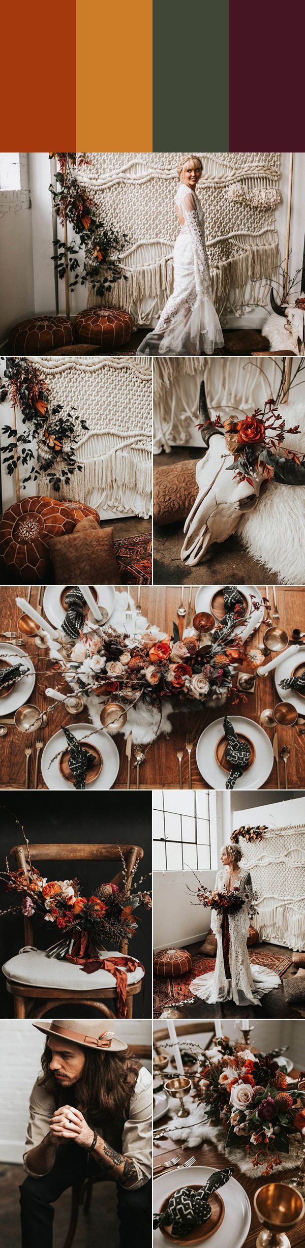 Copper, goldenrod, forest green, and aubergine | Images by Monique Serra Photography