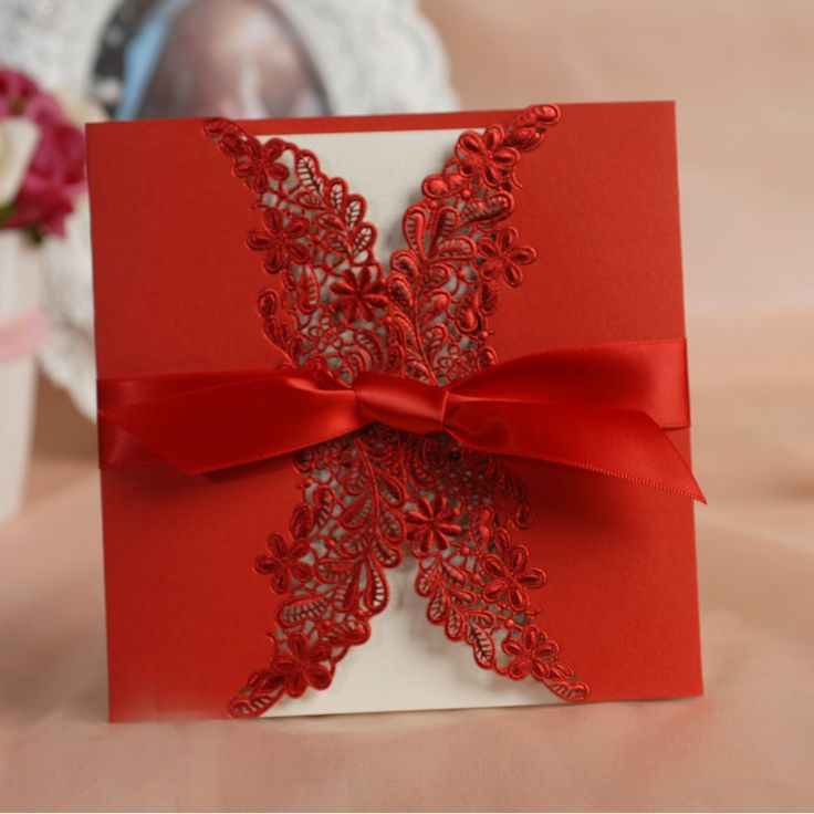 lace red Wedding invitation card with ribbon bow, for birthday party invitation cards ,blank inner page personalized customizing $80.46