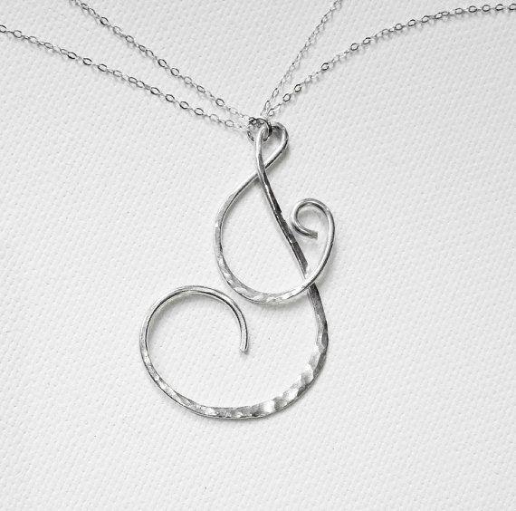 "Letter J Necklace Letter Necklace Large by BelleAtelierJewelry, $44.00 Beautiful flowing cursive letter ""J"""