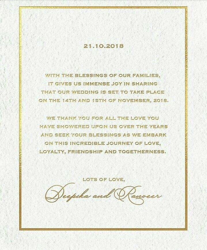 Invitation Card Of Deepika Padukone N Ranveer Singh Marriage