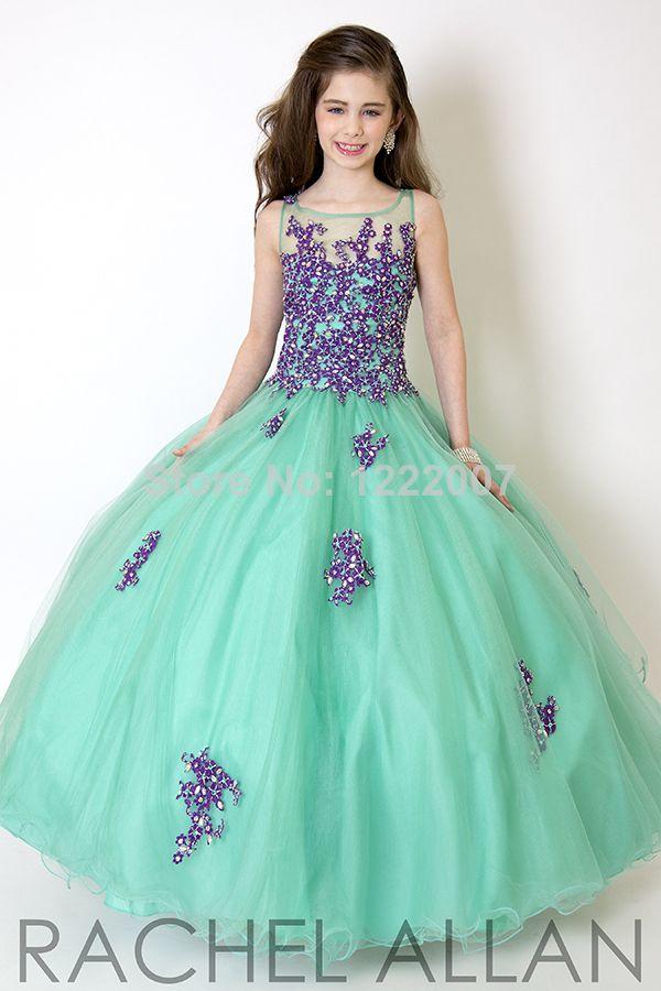 Custom made Little Girl Pageant Dresses 2014 Vestidos de menina Ruffles Ball Gown For Wedding Party  Flower girl Dresses $119.00