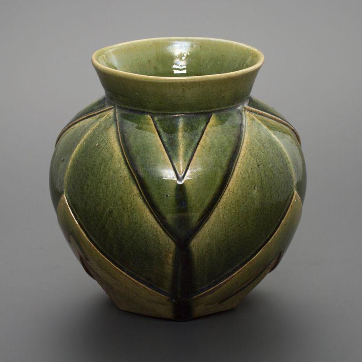 織部刻文壷 Pot with engraved, Oribe type 2013