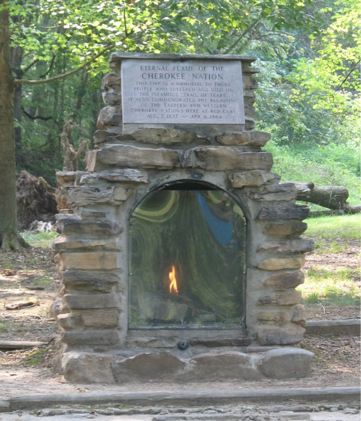 """The Eternal Flame of the Cherokee Nation, located in Red Clay Historic Park in Southeast Tennessee was placed in memory of those people who suffered and died on the infamous """"Trail of Tears""""."""