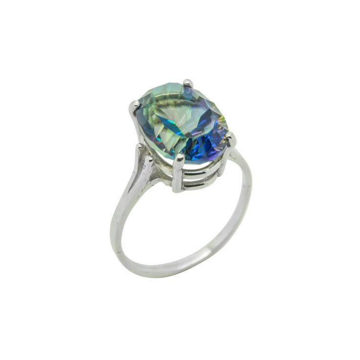 Magic Blue Quartz Oval Sterling Silver Ring by ElizabethEverettJ on Etsy
