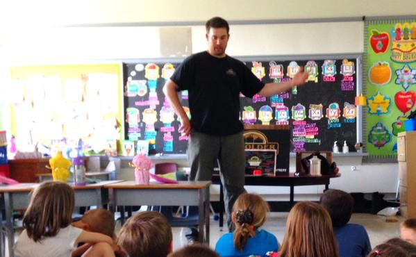 Fellow employee and parent went to local school to speak with class about different careers that can be found at Devolder Farms
