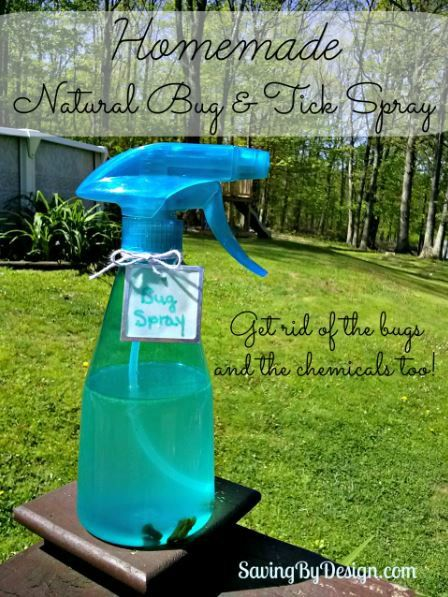 I try to use as few unnecessary chemicals as possible, so I've been doing my research and came up with this wonderful homemade natural bug repellent. It really works and actually smells good too! | SavingByDesign.com #natural #homemade #summer