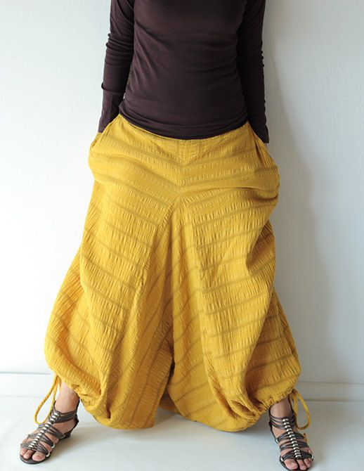 Wabi-Sabi pants...Mustard /black /dark green/ kaki /capris pant /funky pants /hippie pants  /harem pants /Linen/cotton And all colour by cocoricooo on Etsy