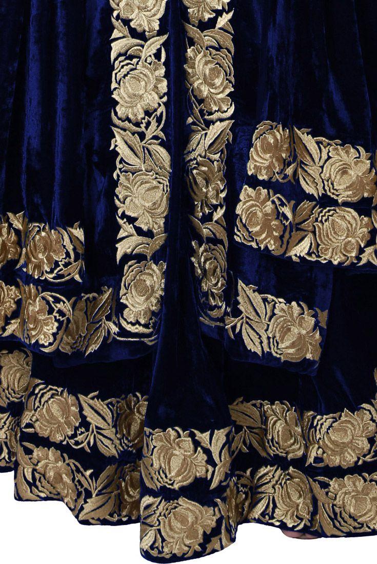 Electric Blue Silk-Velvet Kasab Tilla Embroidered Lehenga Skirt Dress