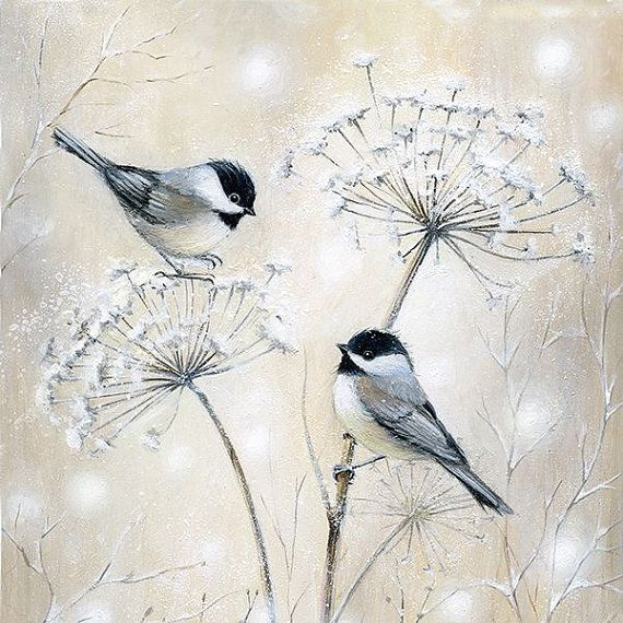 Two Chickadees cushion panel front panel only by sarahsummers
