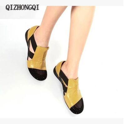 2017 Summer New Soft Bottom Flat Genuine Leather PU Women Shoes Personality Leisure Women Sandals Retro Handmade Sandals sapato