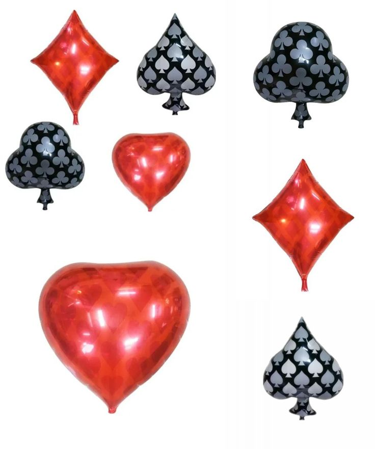 [Visit to Buy] BINGTIAN 1pcs Clubs Diamonds Spades Hearts Foil Balloon Casino Cards Dice Poker Party Supplies Decorations Playing Cards Poker #Advertisement