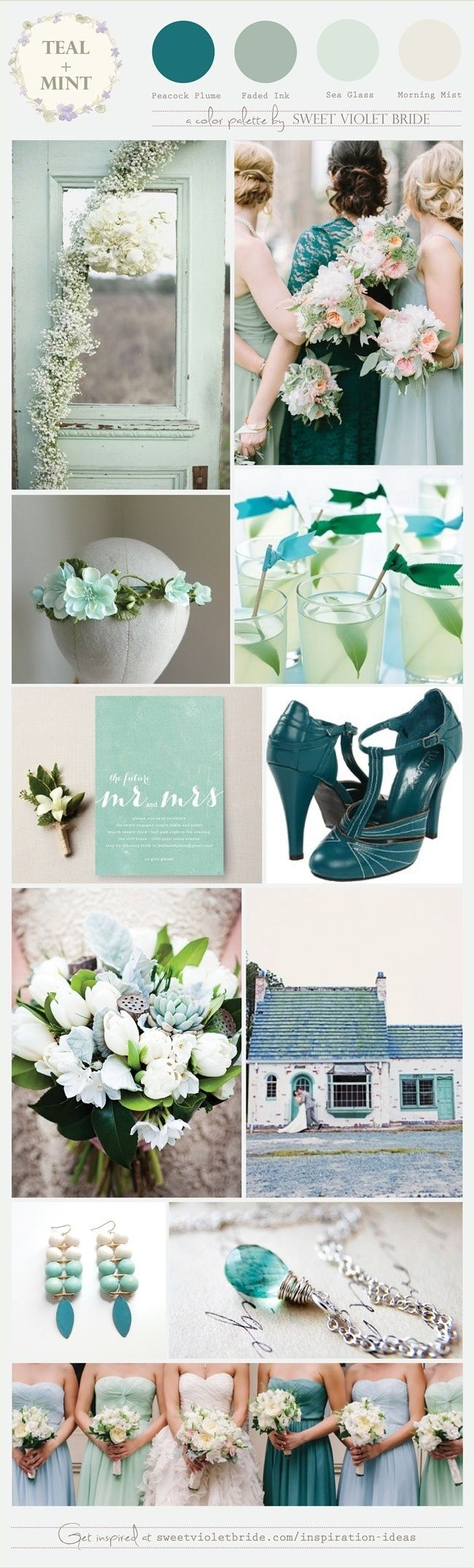 Wedding Color Palette: Teal + Mint (a color palette in tones of teal and mint). Two of my favorites on the cool end of the color spectrum, and they pair beautifully simply with each other or with accents of cream, blush, or lavender. This color palette looks lovely with bridesmaid dresses in watercolor shades of sea glass mint, peacock teal, and misty grey-green (think dusty miller).