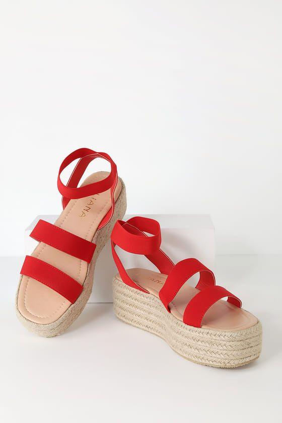 95b3275c0f4 Cute Red Sandals - Espadrille Sandals - Platform Espadrilles