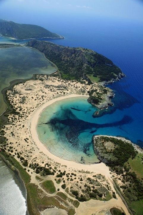 voidokilia bay,formed by the lagoon of Gialova and mediterranian sea, messinia, greece